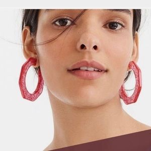 Jcrew Pink Glitter Hoops
